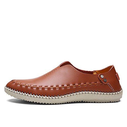 SHANGWU 4 Sandali da Passeggio Scarpe da Uomo in Pelle da Uomo Sandali di Grandi Dimensioni in Pelle Scarpe da Buco Casual da Uomo Scarpe da Uomo caveZHANGM (Colore : Marrone, Dimensione : 45)