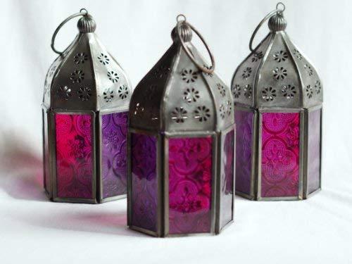 3 Er Set Tonal Teelichthalter, Marokkanisches Glas Lanterns. Pink Und Violett