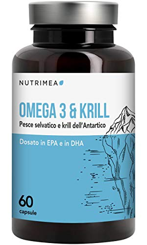 omega 3 krill olio di pesce • 1000 mg olio di sardine e olio di krill • 480 mg di epa dha • 60 capsule • antiossidante, colesterolo, articolazioni • pesci selvatici derivati da pesca sostenibile • registrato presso il ministero della salute italiano