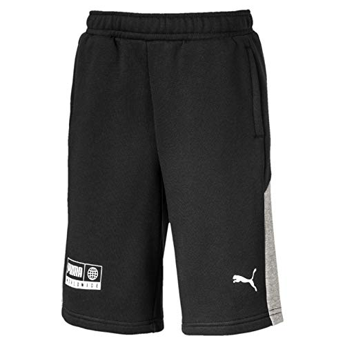 PUMA Jungen Alpha Jersey Bermuda B Shorts, Black, 176 - Puma-jersey-shorts