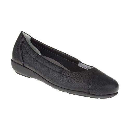 Schwarz Hirschleder (Natural Feet Damen Ballerina Christina   Echtes Hirschleder   Weite H   Hallux geeignet 44 schwarz)