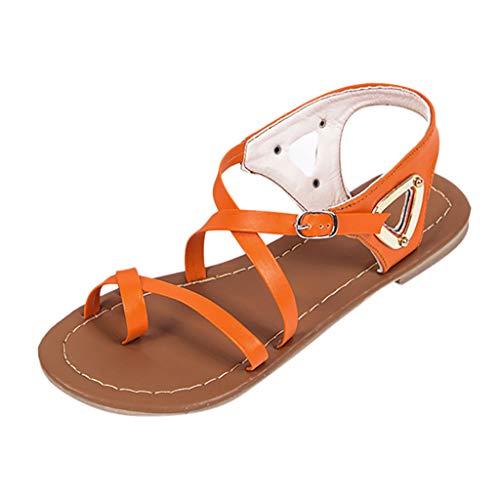 REALIKE Damen Sandalen Sommerschuhe Einfarbig Hohl Plattformen Schnalle Roma Schuhe Elegant Schuhe Knöchel Schnalle Peep Toe Freizeitschuhe Frauen Bequem Touch Strandsandalen -