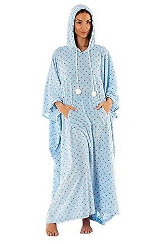femmes PONCHO CAFTAN vêtement de Loisirs grande taille Lounge Pyjama chaude - Bleu, Taille Unique