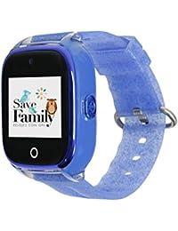 Reloj con GPS para niños SaveFamily Superior acuático con cámara Azul Glitter. Smartwatch con botón SOS, Permite Llamadas y Mensajes. Resistente al Agua Ip67. App Propia SaveFamily. Incluye Cargador