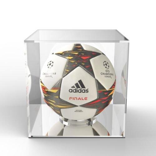 Acrylic Football Cube Presentation Display Case Box & Ball Holder Riser Plinth (Mirror) Cube Riser