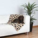 Trixie 37191 Fleecedecke 'Beany' 100 x 70 cm, beige mit Pfoten