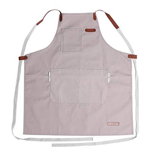 1989candy Leinwand Schürze einstellbar Männer Frauen Küche Kochen Pinafore w/Tasche (Beige) -