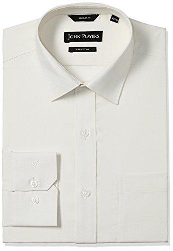 John Players Men's Formal Shirt (8902986923279_JFMWSHA160051_42_Vanilla Ice)