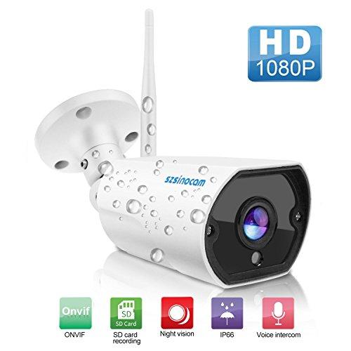 Wlan IP Kamera 1080P HD Sicherheitskamera Außen/IP cam mit LAN & Wlan/Wifi IP66 Wasserdicht, P2P Pantilt Bewegungsmelder,Email, 20 IR Nachtsicht, für Haustier/Baby Monitor by SZSINOCAM