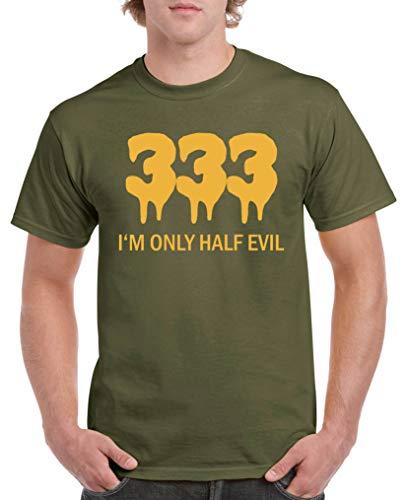 Kostüm Laterne Für Grüne Herren - Comedy Shirts - 333 I'm only Half Evil - Herren T-Shirt - Oliv/Gelb Gr. S