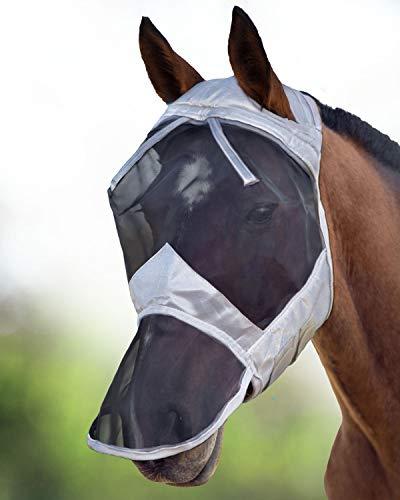 Harrison Howard CareMaster Fliegenmaske UV-Schutz ohne Ohren mit Nasenschutz Silber/Schwarz Warmblut (L)
