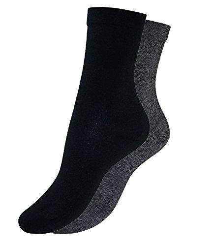EveryHead 2er Pack Jungenstrümpfe ohne Gummi Herrensocken Söckchen Strumpf Sensibel für empfindliche Füße (RS-11120-S16-JU3-SCH/ANTH-35/38) in Schwarz/Anthrazit, Größe 35/38 inkl - Schwarz Jungen Nahtlose Socken
