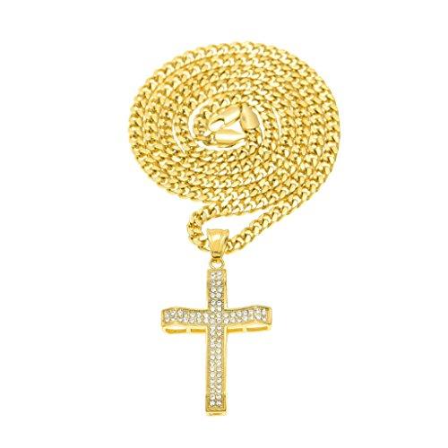 KnSam Unisex Placcato in Oro Ciondolo Collane Croce Preghiera di Gesù Oro Cristallo Strass[Novità Collana]