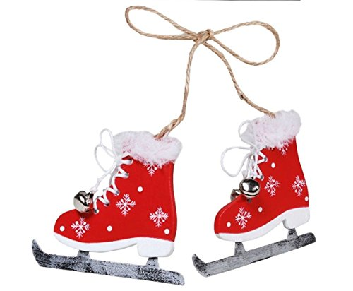 LD Weihnachten Deko Deko Schlittschuhpaar Schlittschuhe Winter Weihnachten rot weiß Dekoration (Lieferzeit ist 3-7 Tagen)