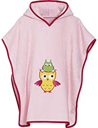 Playshoes Girl's Terry Bathing Poncho Owl Hooded Bathrobe