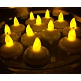 CHRONOS LED Floating Tealight Candle - Waterproof - Battery Powered - Ultra Bright Yellow LED - For Diwali, Christmas, Home Decor, Wedding Decoration, Happy Birthday And Gift - Pack Of 12