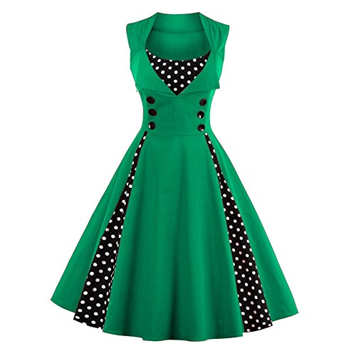 Allouli Womens Vintage 50s inspiriert Button Swing Vintage Abendkleid Rockabilly Pinup Brautjungfer Cocktailkleider Ballkleid Party Kleider, Grün, Asian (Kleid Polka Red Size Dot Plus)