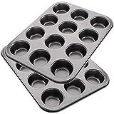 EUROXANTY-Set de 2 moldes de horno para 12 Magdalenas y Muffins,Acero al