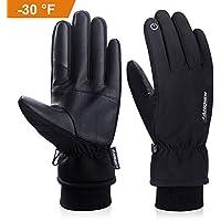 coskefy Winter Handschuhe Männer Frauen Touchscreen Warm -30 ˚ (-34 ℃) Kältebeständig Thermische 3M Baumwolle Winddicht Outdoor Sport für Reiten Laufen Skifahren Wandern Camping Radfahren Smartphone