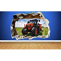 Red Tractor Farm Boys Bedroom Animals Country Window Wall Decal 3D Art Stickers (Small (58cm x 40cm))