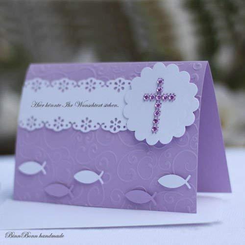 12 personalisierte Einladungskarten Einladung Kommunion Konfirmation Firmung flieder Mädchen Handarbeit binnbonn