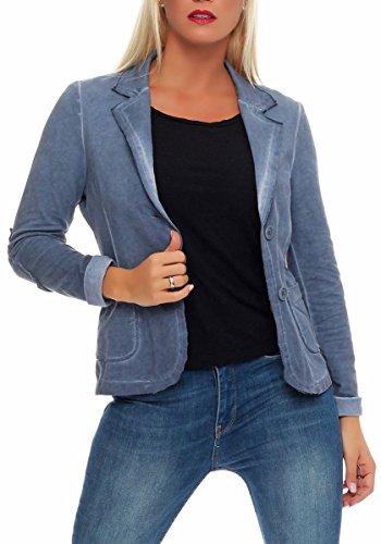 Malito Damen Blazer im Washed Style | Sakko im Basic Look | Kurzjacke mit Knöpfen | Jacke - Jackett - Blouson 1652 (hellblau, XL)