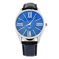 Souarts Mens Artificial Leather Band Blue Ray Quartz Analog Wrist Watch 23cm