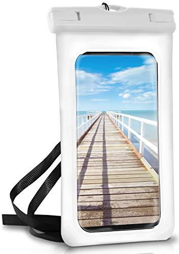 ONEFLOW Wasserdichte 360° Handy-Hülle für alle Smartphones [Waterproof Cover] Touch-Funktion und Kamera-Fenster + Armband und Schlaufe zum Umhängen komplett Wasserfest, Weiß (Pear-White)