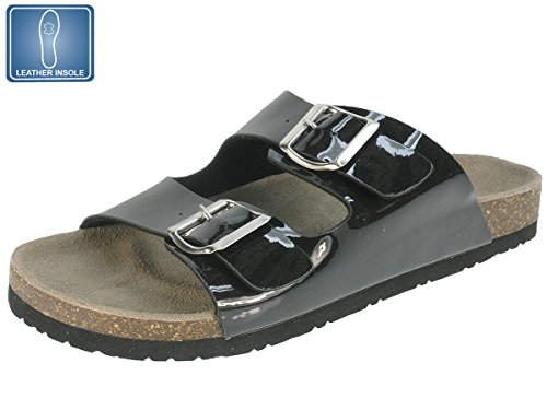 Beppi Damen Pantoletten mit Comfort Lederflussbett Sandalen mit Korksohle Schwarz