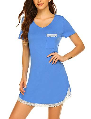 MAXMODA Femmes Chemises à Manches Courte Chemise de Nuit en Dentelle Gris L
