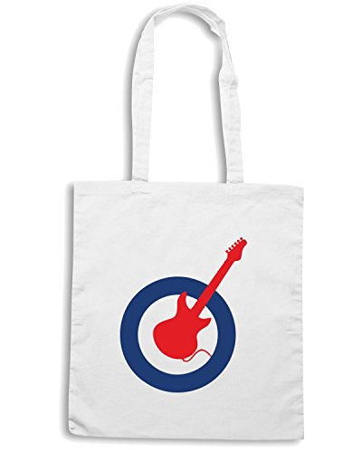 T-Shirtshock - Borsa Shopping WC0384 Guitar mod Bianco