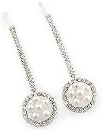 2/baile nupcial cristal, perla simulada 'flor en el círculo' apretones de pelo/toboganes en rodio chapado - 60 mm a través de