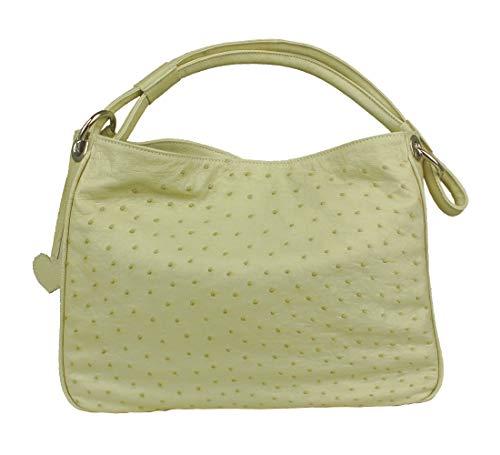 YOE Straußenleder echt Handtasche Marke Mod.XL UVP 2.899,- Straußenleder creme 7139 - Straußenleder Handtasche