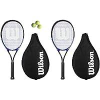 2 x Wilson Grand Slam XL Racchette Da Tennis L2 + 3 Palline - Slam Racchette