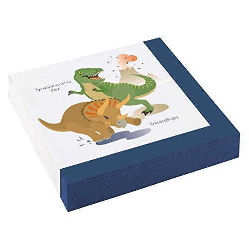 20 Servietten * FRÖHLICHE Dinos * für Kindergeburtstag und Motto-Party | T-Rex Triceratops Dino Dinosaurier Urzeit Echsen Kinder Geburtstag Mottoparty Napkins Einweg (Dinosaurier Party Servietten)
