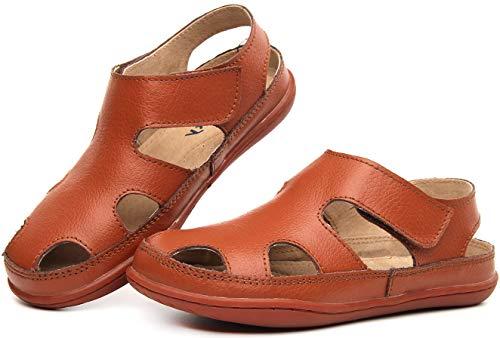 Gaatpot Unisex-Kinder Sandalen Mädchen Jungen Kindersandale Geschlossene Baby Sommer Leder Sandale Lauflernschuhe Schuhe Braun 28 EU/28 CN -