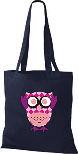 ShirtInStyle Jute Stoffbeutel Bunte Eule niedliche Tragetasche mit Punkte Karos streifen Owl Retro diverse Farbe, weiss blau