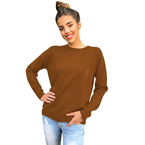 Damen Oberteile,DOLDOA O-Ausschnitt lange Ärmel Zurück Bandage T-Shirt Top Bluse Pullover (EU:52, Braun,O-Ausschnitt Zurück Bandage Oberteile) (Zurück Monokini)