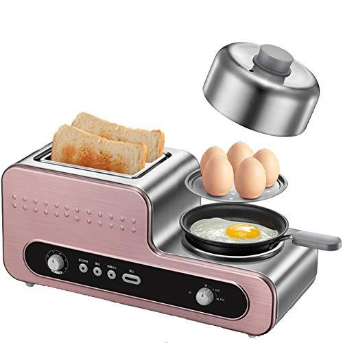 LJ-MBJ 3 in 1 Toaster, 2-Slice Toaster, Haushalt Frühstück Maschine, Multifunktion Automatisch Brotmaschine, Breiten Schlitz, Dropdown-krümelschublade, Edelstahl -A