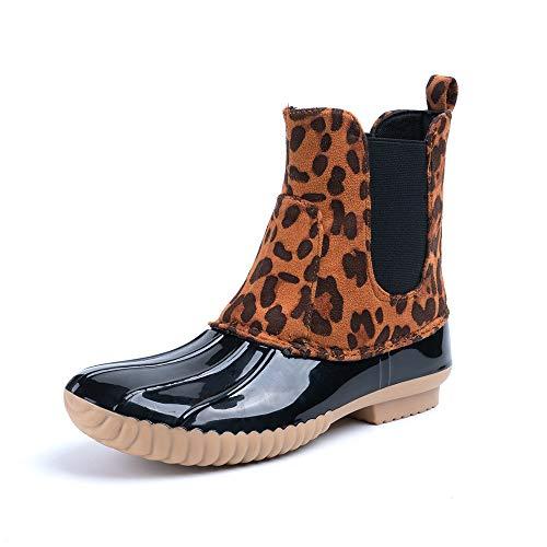 Botas de Agua Mujer Cortas Bota de Goma Impermeable Jardin Lluvia Zapatos Antideslizante Wellington Boots Trabajo Calzado Planas Leopardo Número 35-43 EU Leopardo 40
