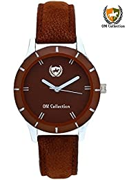 Om Collection Presents Beautiful Analog Brown Dial With Brown Leather Strap Women And Girls Watch_omwt-36