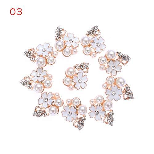 DUHUANG 10pcs / Set Handwerk Kleidung Bogenzubehör Garment Dekorative Scrapbooking Rhinestone-Blumen-Perlen Nähen Taste (3 + 3) -
