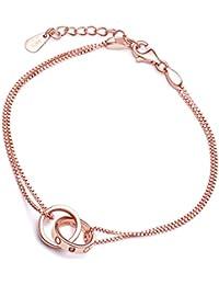 242cc5e859e8  Yumi Lok Oro Rosa 2 versc hlun Gene anillos de plata de ley 925 con  Circonita Charm pulsera pulsera cadena doble…