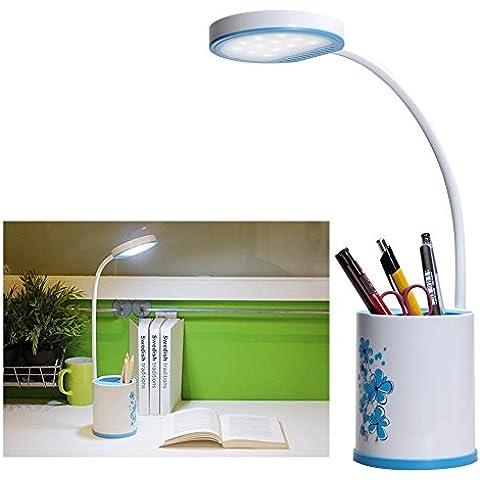 E-Plaza Creativo LED Scrivania Lampada USB Ricaricabile con Matita Container Flessibile Collo Occhio Amichevole 3 Livelli di Luminosità Toccare-delicato per Studio Libro Lettura (Blu)