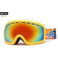 Ryadia (TM) Polisi soffice schiuma comodo occhiali da sci invernale neve occhiali da sci antivento Motoslitta moto gafas Esqui protezione UV, Orange 09
