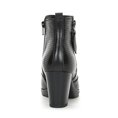 ALESYA by Scarpe&Scarpe - Bottines hautes avec fermeture éclair latérale et fond renforcé, en Cuir, à Talons 7 cm Noir