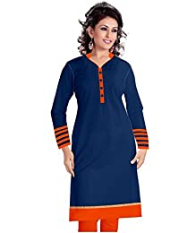 BELLEZA Summer Designer Collection Navy Blue & Orange Stripe Cotton Semi-Stitched Kurti (Free Size : Semi-Stitched)