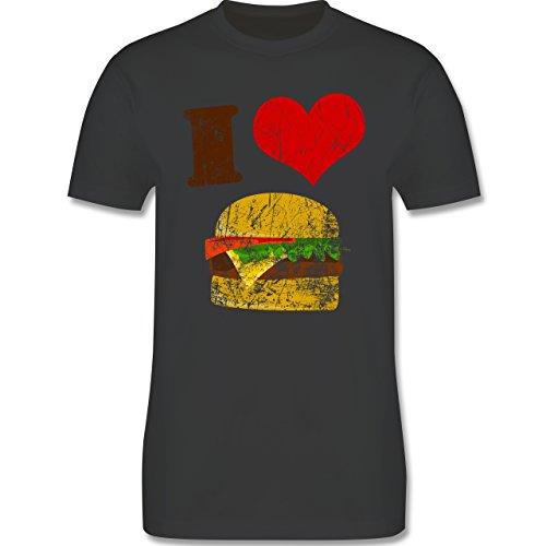 lustige Fotomotive - I love Burger - L190 Herren Premium Rundhals T-Shirt Dunkelgrau