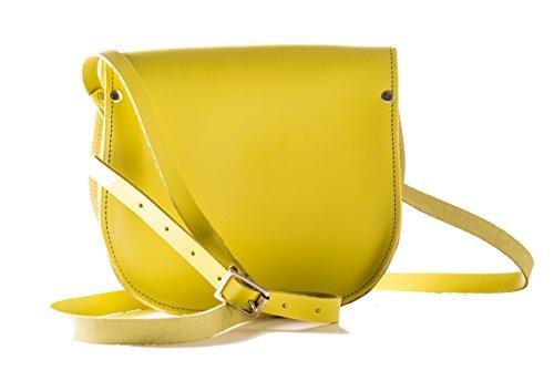 Vera pelle Saddle Croce borsa corpo con fibbia di chiusura e tracolla regolabile. Disponibile in vari colori. Mustard Gleb