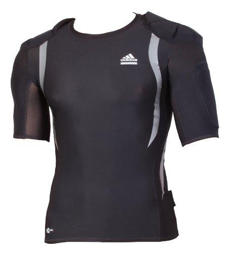 Adidas Techfit Powerweb Padded Top Herren Rugby Shirts Schulterschutz American Football Kompressionsshirts TF PW Männer schwarz 50 M